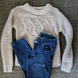 Express Jeans + Banana Republic Cable Knit Sweater